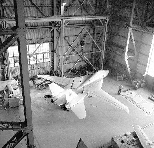 Grumman F-14A Airplane In Ames 40X80 Foot Wind Tunnel.