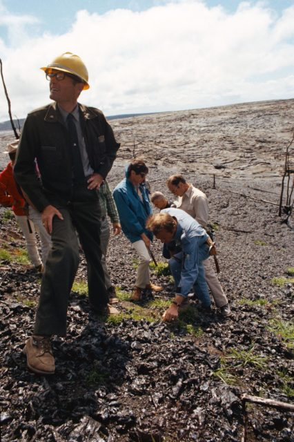 Apollo 14 crewmen near site of volcanic eruption on Hawaii