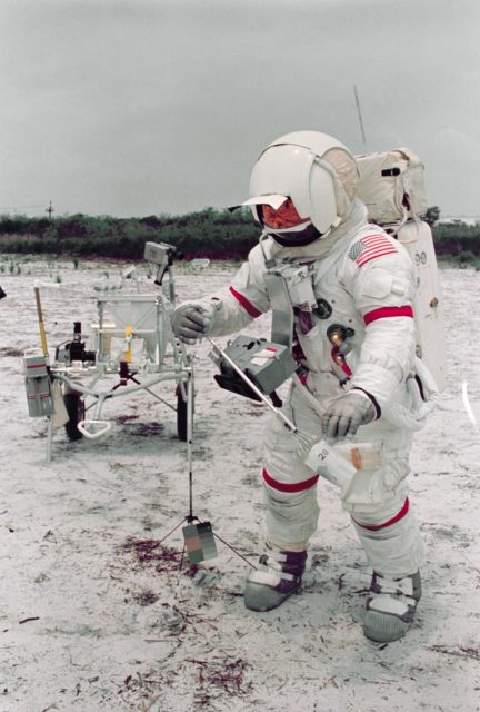 Astronaut Alan B. Shepard in lunar surface simulation training