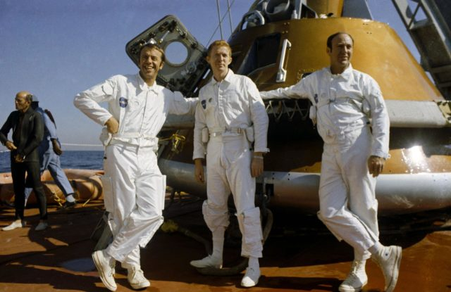 Apollo 14 prime crew aboard NASA Motor Vessel Retriever during training