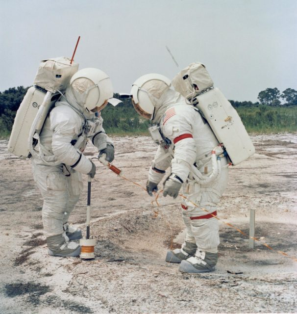 Astronauts Shepard and Mitchell practice using Active Seismic Experiment
