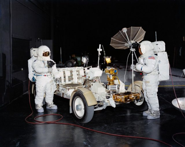 Members of Apollo 15 crew shown with Lunar Roving Vehicle One-G trainer