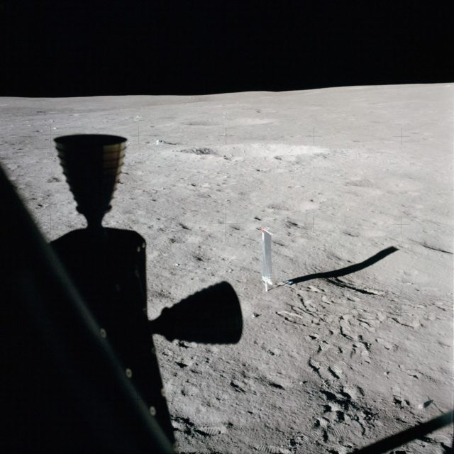Apollo 14 Mission image - View from the Lunar Module window of the Solar Wind Panel to the southeast.