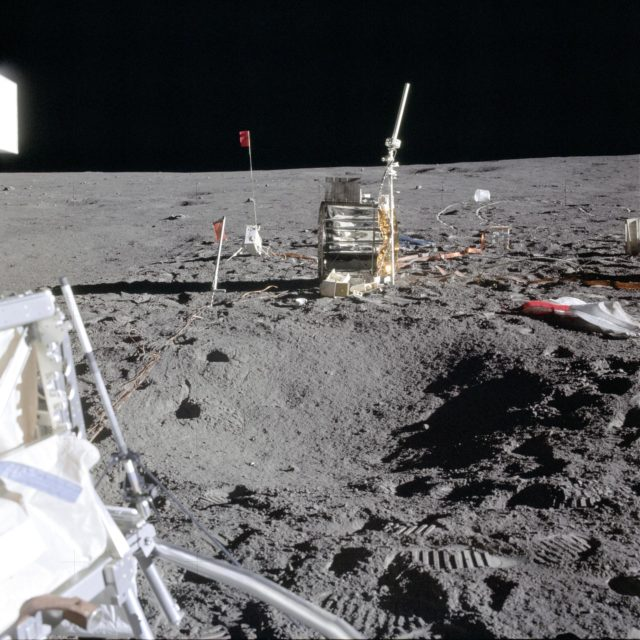 Components of the ALSEP deployed during Apollo 14 first EVA