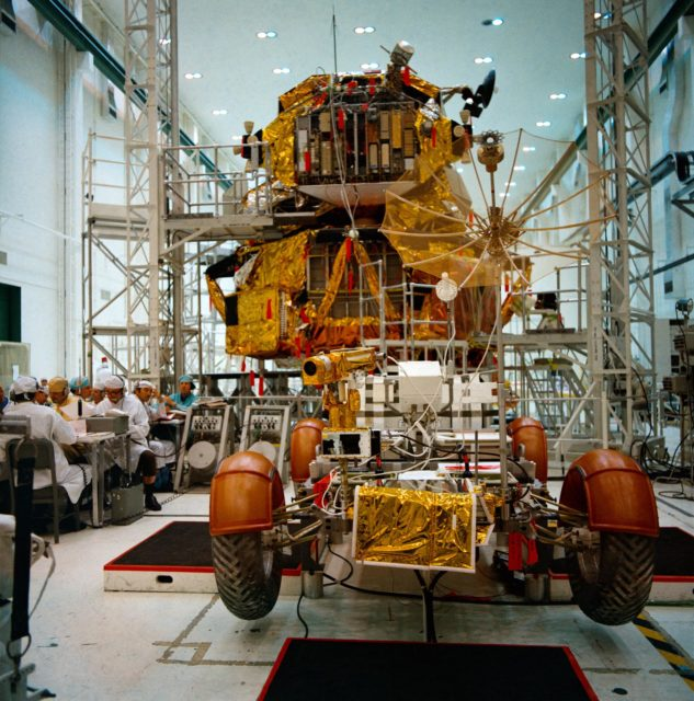 View of Apollo 15 Lunar Roving Vehicle and Lunar Module during simulations
