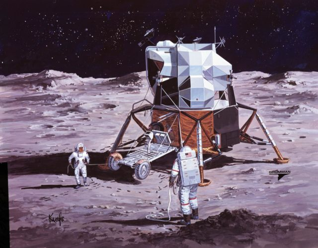 Artists concept of Apollo 15 crewmen performing deployment of LRV