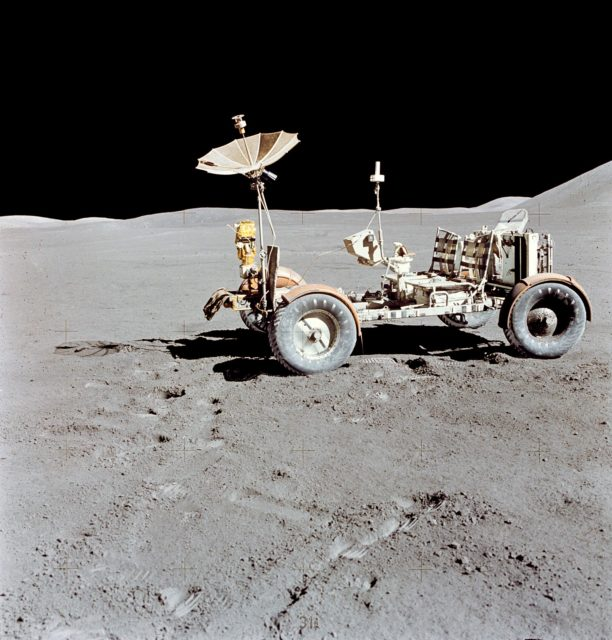 Lunar Roving Vehicle photographed against lunar background during EVA