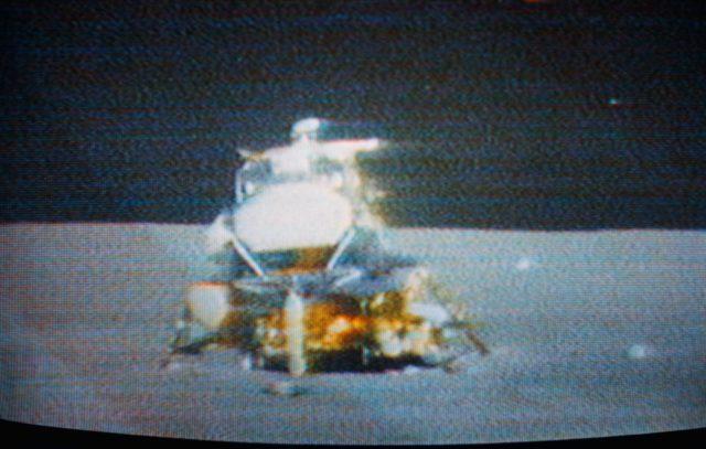 "Apollo 15 Lunar Module ""Falcon"" seen before ascent stage liftoff"