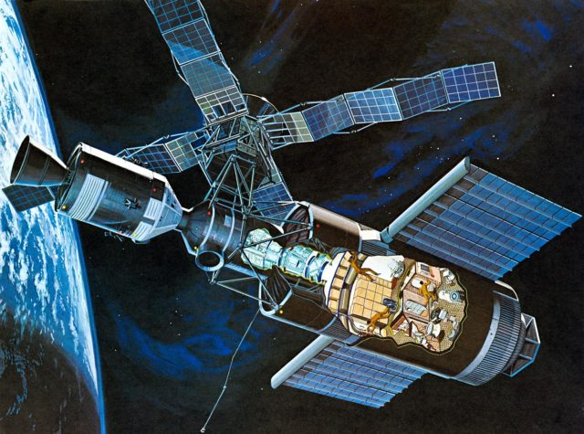Artist's concept of Skylab space station cluster in Earth's orbit