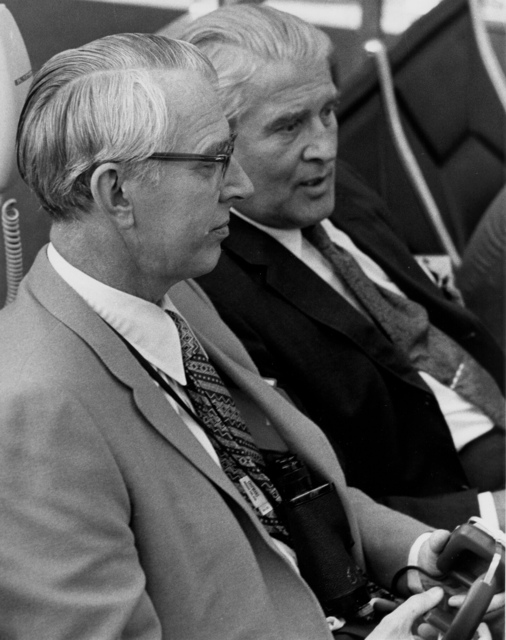 Fletcher and von Braun at Apollo 15 launch