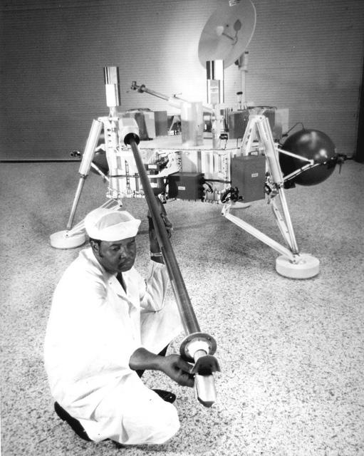 Technician Checks Soil Sampler on Viking Lander