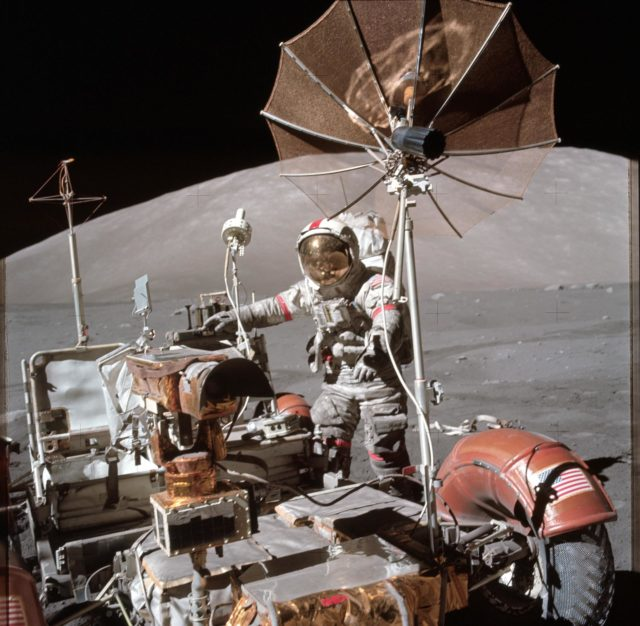 View of Astronaut Eugene Cernan beside lunar roving vehicle during EVA