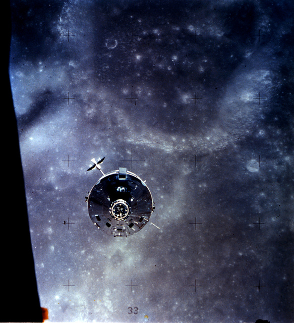 Apollo 16 Command and Service Module Over the Moon