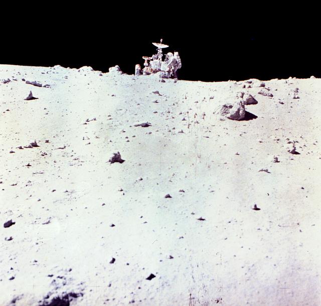 Astronaut Charles Duke with Lunar Rover on Moon