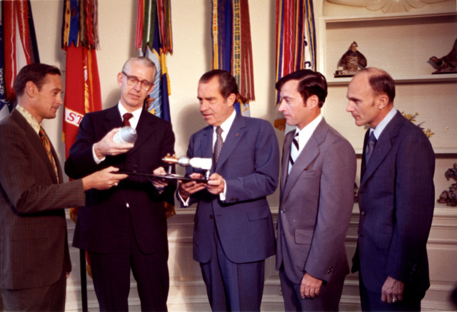 President Nixon with Dr. James Fletcher and Apollo 16 Astronauts