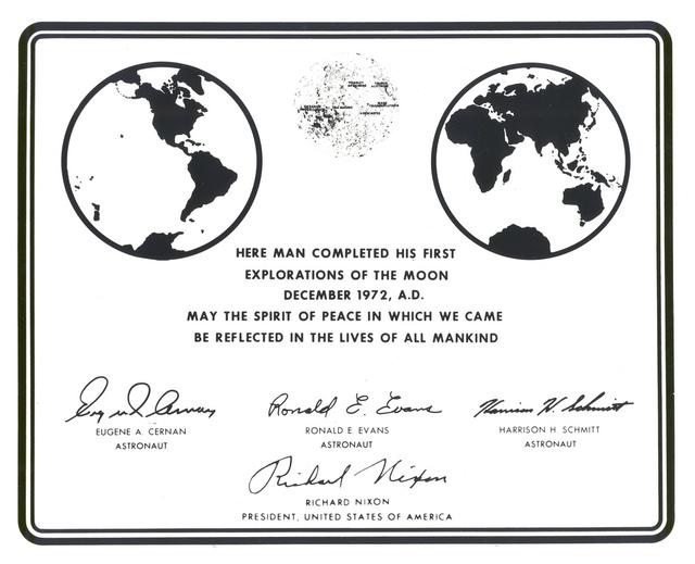 Replica of Plaque Left on Moon by Apollo 17 Astronauts