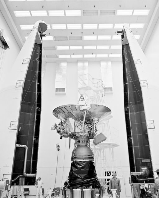 CAPE KENNEDY, Fla. -- In the AO Building at Cape Kennedy Air Force Station in Florida, the Pioneer G spacecraft awaits the installation of its protective payload fairing. The interplanetary space probe is scheduled for launch atop an Atlas Centaur rocket from Cape Kennedy April 5, 1973. Pioneer G's nearly two-year mission will take it on an investigation of the asteroid belt, then on to Jupiter, largest planet in our solar system. NASA's launch teams from the Kennedy Space Center will direct final testing and the launch itself. The mission is a project of the Ames Research Center. Photo Credit: NASA KSC-73P-0116