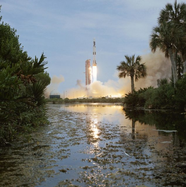 Launch of unmanned Skylab 1 space vehicle
