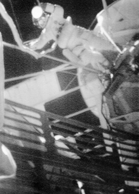 Astronaut Jack Lousma seen outside Skylab space station during EVA
