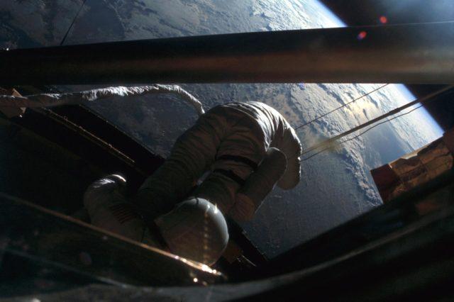 Skylab Astronaut participates in EVA to deploy twin pole solar shield