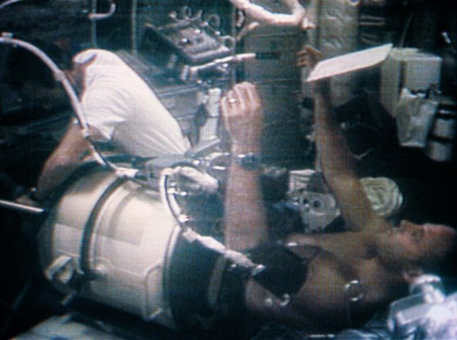 Astronaut Jack Lousma in Lower Body Negative Pressure Device