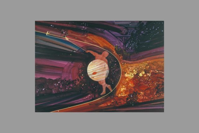 Artist: Rick Guidice Pioneer Jupiter encounters Artwork: The gravity of Jupiter (or of Saturn), coupled with its orbital motion, can be used in a slingshot technique to speed spacecraft to the outer planets. (S.P. fig. no. 1-21). ARC-1973-AC73-9345