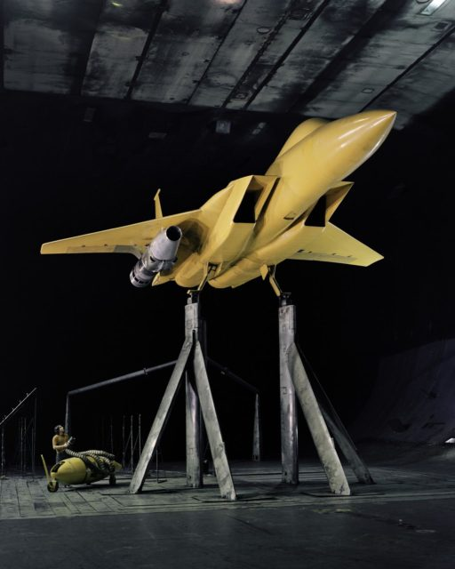 AST (Advanced Supersonic Technology) Propulsion Noise Research test on the F-15 model with nacelle in the 40x80ft Subsonic Wind Tunnel at Ames Research Center, Mt View, CA ARC-2010-A73-5340-Edit