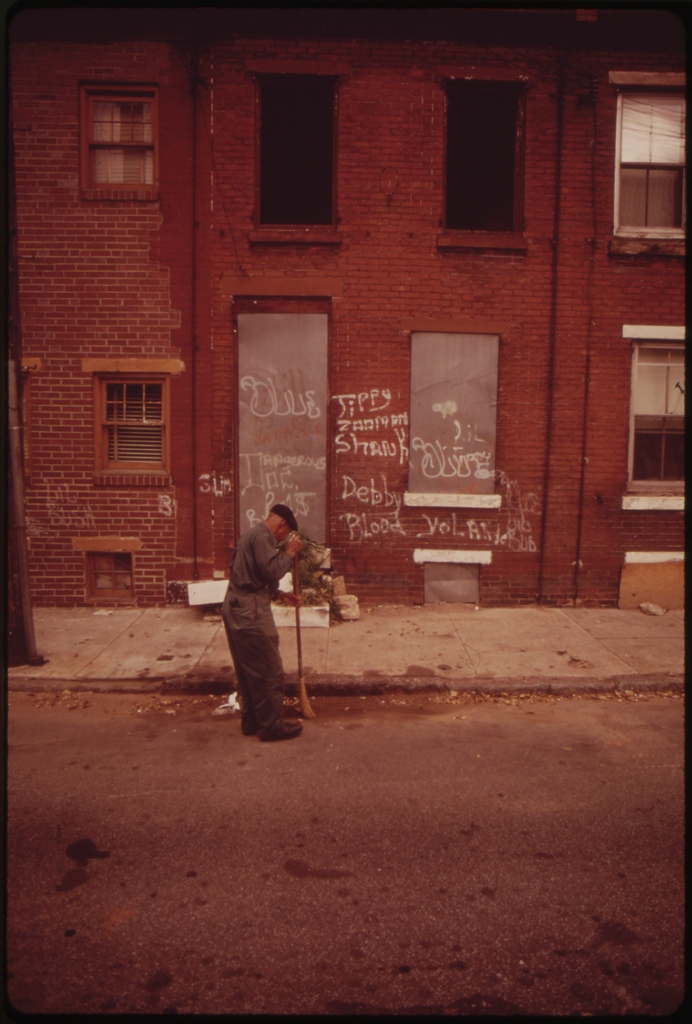 Abandoned House And Street Sweeper In North Philadelphia, August 1973