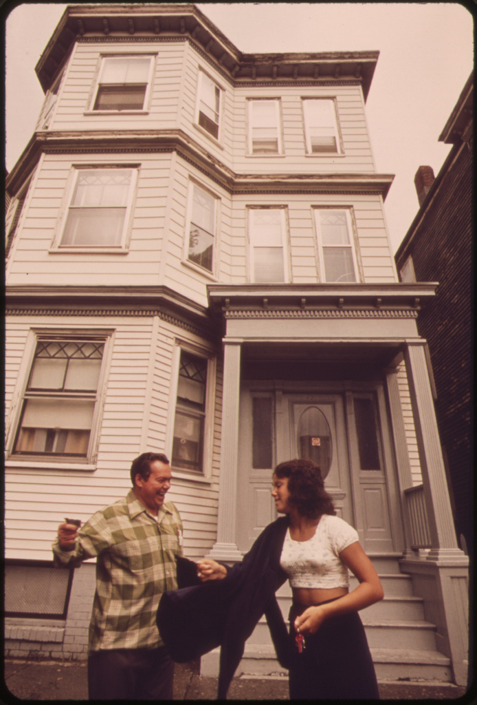 Anthony Bruno and Daughter Sandra in Front of Their Home at 39 Neptune Road near Logan Airport