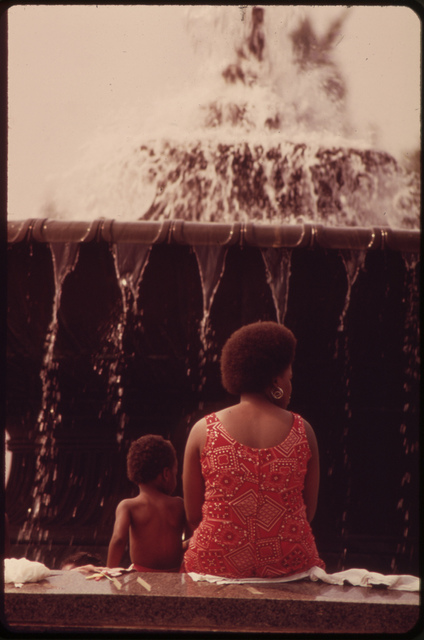Cooling Off Beside Fountain At Philadelphia Museum Of Art, August 1973
