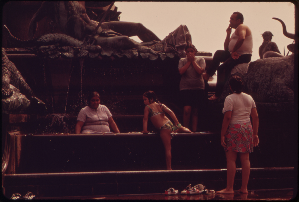 Fountains Surrounding Philadelphia Museum Of Art Are Especially Popular In A Heat Wave, August 1973