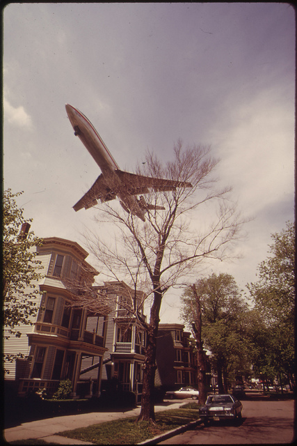 Jet Zooms Over Southwestern Side of Neptune Road