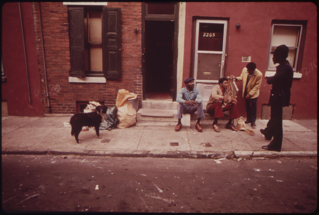 "North Philadelphia Jobless Blacks. Man Standing At Right Is Gerald ""Heat Wave"" Jones, Who Works For ""the Network"", August 1973"