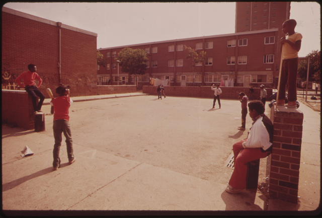 Play Area Of Black Housing Project In North Philadelphia, August 1973