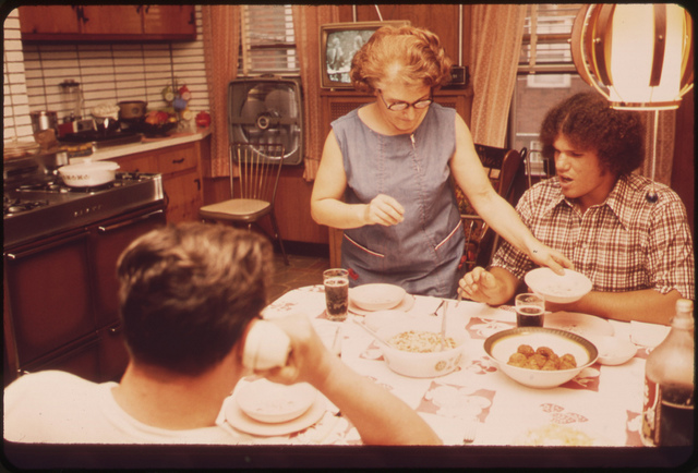 The Anthony Brunos at Dinner in Their Well-Kept Home at 39 Neptune Road