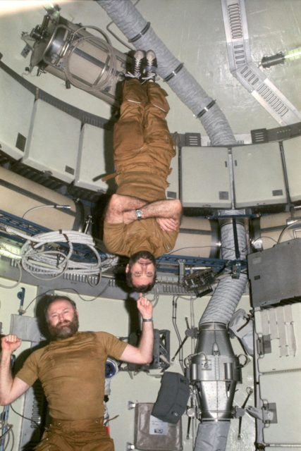 Astronauts Carr and Pogue demonstrate weight training in zero-gravity