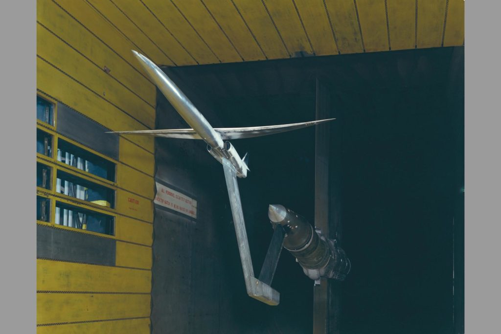 Oblique wing in 11ft. wind tunnel  Test 11-026. ARC-1975-AC75-0261-29