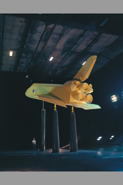 Space Shuttle SSV orbiter model OA100 (0.36 scale): 40x80ft w.t. ARC-1975-AC75-1191