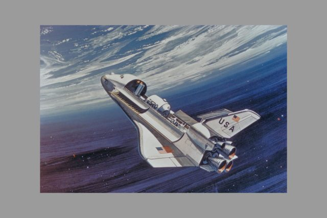 Shuttle Service (view of spacecraft).  Space shuttle delivers part for Space Colony ARC-1975-AC75-1917