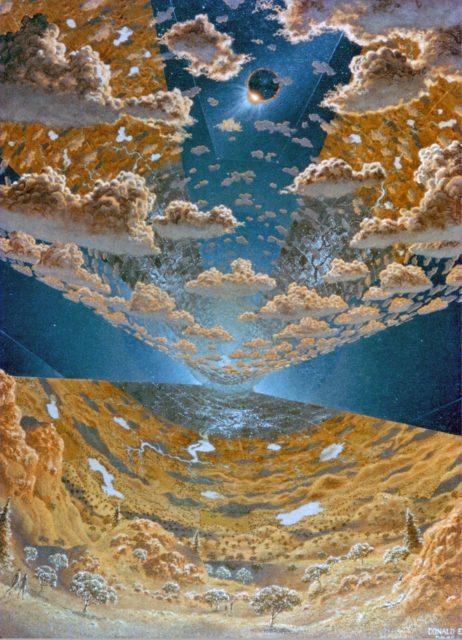 Interior View of L-5 Torus Sphere Colony.  Space Colonization. Artwork by Don Davis ARC-1975-AC75-1920