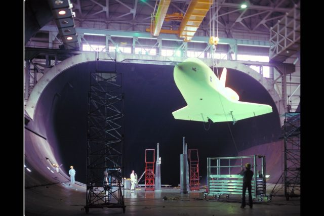 Space Shuttle Orbiter 101 model  installation in the 40x80ft W.T.  Test 462 ARC-1975-AC75-2582