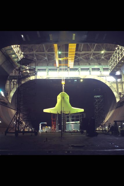 Space Shuttle Orbiter 101 model installation in the NASA Ames 40x80ft Subsonic Wind Tunnel. Test-462 ARC-1975-AC75-2584