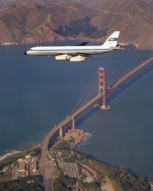 CV-990 (NASA-712) Galileo II aircraft in flight over the San Francisco's Golden Gate Bridge. A digital navigation, guidance and autopilot system tested on Galileo 1 and Galileo II in 1975 looked at the feasibility of energy-management approach concepts for an unpowered vehicle. Flight tests carried out by pilot Fred Drinkwater with technical direction by Fred Edwards and John D Foster along with significant input from Gordon Hardy on the pilot's system interface. Note:  Used in publication in Flight Research at Ames;  57 Years of Development and Validation of Aeronautical Technology NASA SP-1998-3300 fig 95 ref 99 ARC-1969-AC76-0060-43