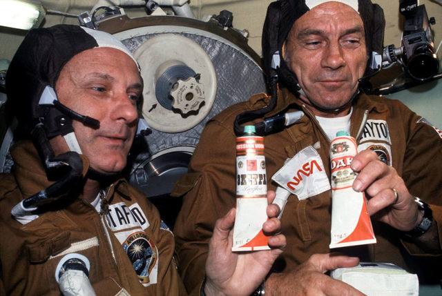Astronauts in the Soyuz Orbital Module