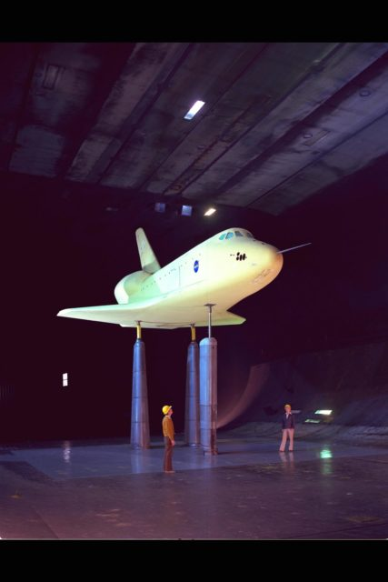 Space Shuttle Vehicle (SSV) 0.36 scale model, 40x80ft w.t. testing ARC-1976-AC76-0430-4