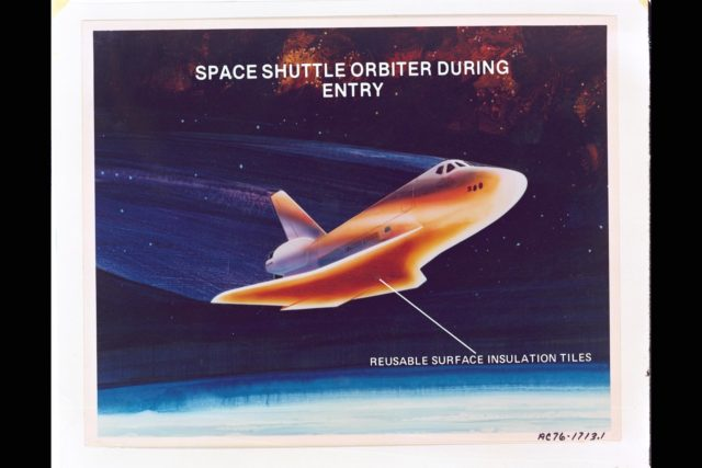 Artist: Rick Guidice NASA artwork of Space Shuttle Orbiter during re-entry showing Reusable Surface Insulation Tiles.  (Text overlay) ARC-1976-AC76-1713