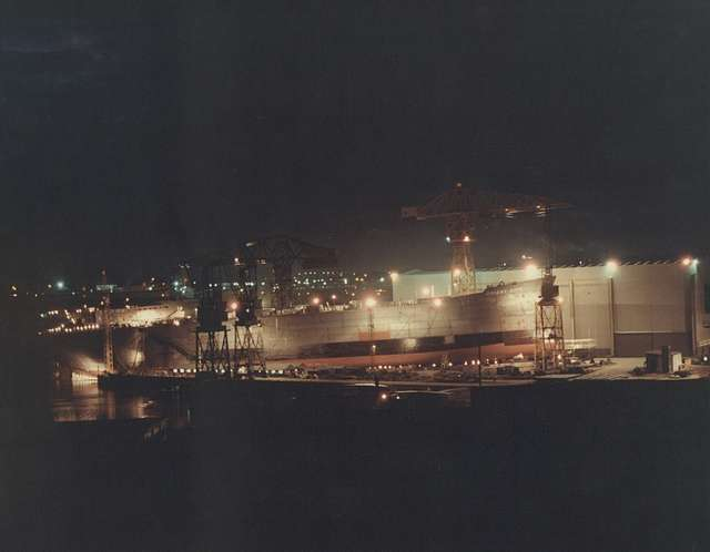 Launch of the 'Orient City' at night