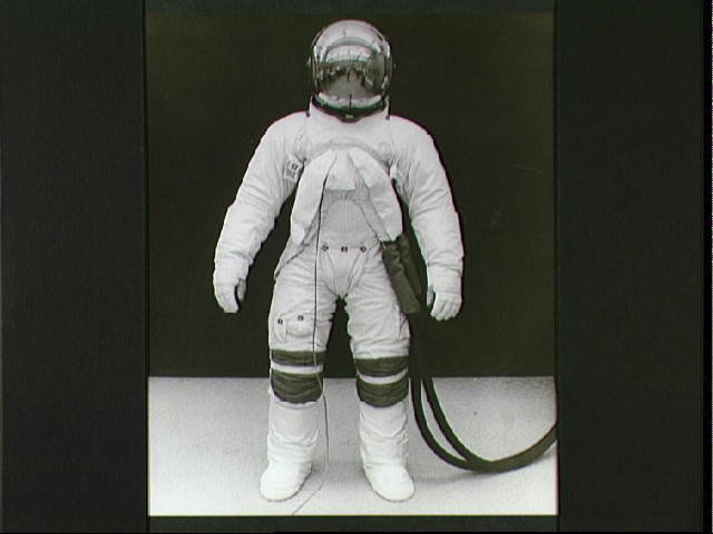 Test subject models uprated Apollo A6L pressure suit