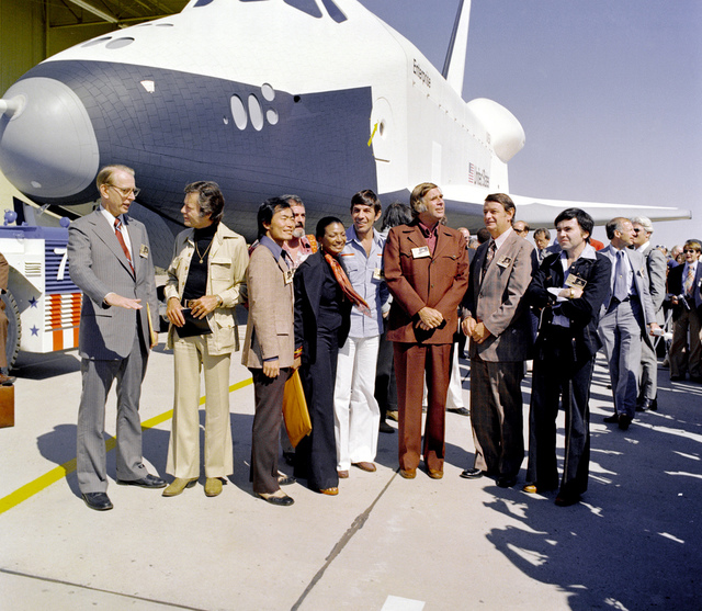 The Shuttle Enterprise with Star Trek cast