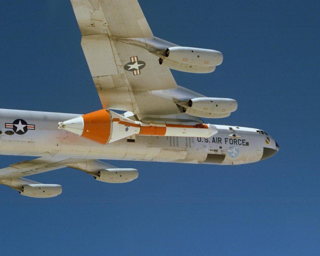Space Shuttle Solid Rocket Booster Drop Test Vehicle (SRB-DTV) captive flight on NB-52B EC77-7428